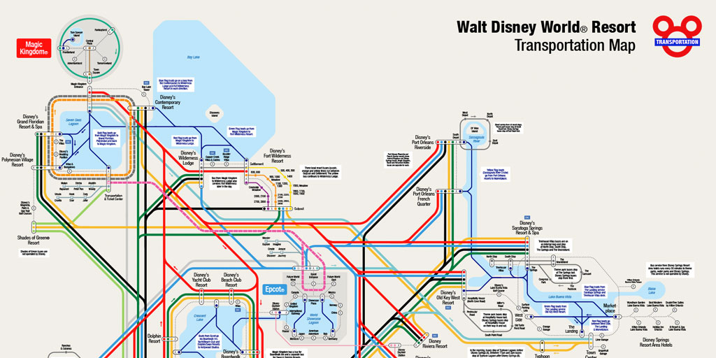 picture regarding Printable Magic Kingdom Map titled Unofficial Walt Disney Planet Resort® Transport Map